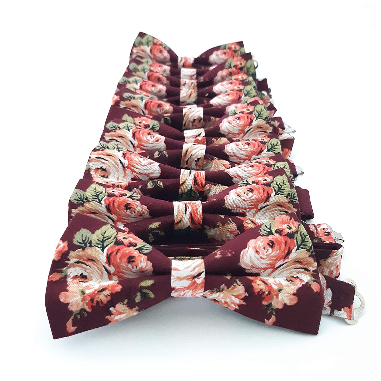 Accessories482 Burgundy Floral Men's Pre-tied Bow tie Groomsmen Outfits Groom Wedding Party Accessory