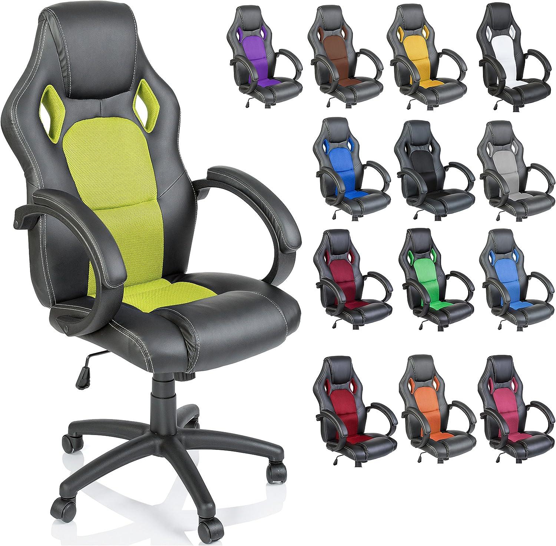 TRESKO Silla giratoria de oficina Sillón de escritorio Racing disponible en 14 colores, bicolor, silla Gaming ergonómica, cilindro neumático certificado por SGS (Negro/Verde chiaro)