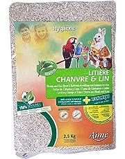 AIME Litière Chanvre Lin pour Petits Animaux, Sac de 2.5kg Jusqu'à 2 mois d'utilisation, Ultra Absorbante, 100% Naturelle