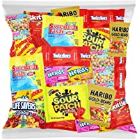 Bulk Assorted Fruit Candy - Starburst, Skittles, Swedish Fish, SweeTarts, Nerds, Sour Patch Kids, Haribo Gold-Bears Gummi Bears & Twizzlers (32 Oz Variety Fun Pack) by Variety Fun