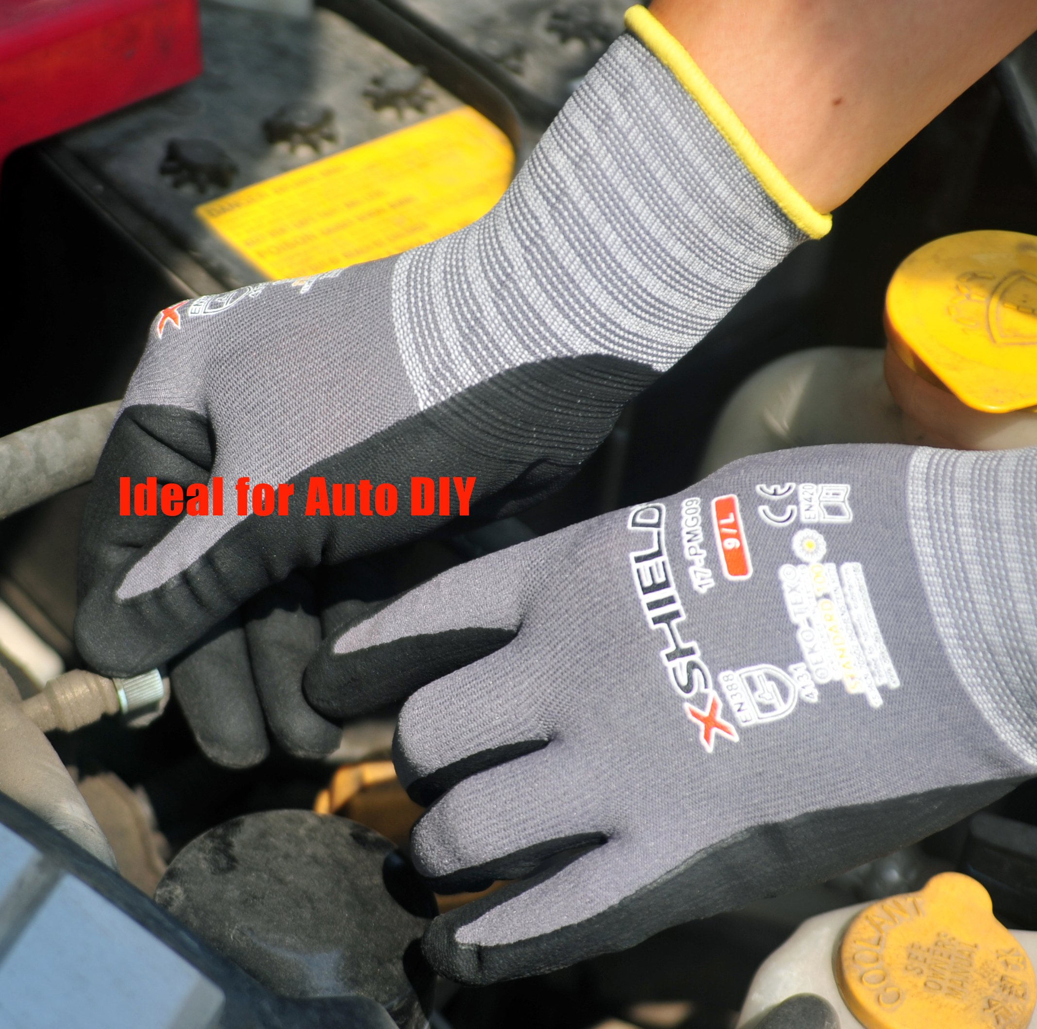 XSHIELD 17-PMG,Ultimate-Nylon, Micro-Foam Nitrile Grip Safety Work Gloves for General Purpose, OKEO-Tex Certificated,Ideal for Auto Repair, DIY,Home Improvement,12 Pairs(Large) by X-Shield (Image #5)