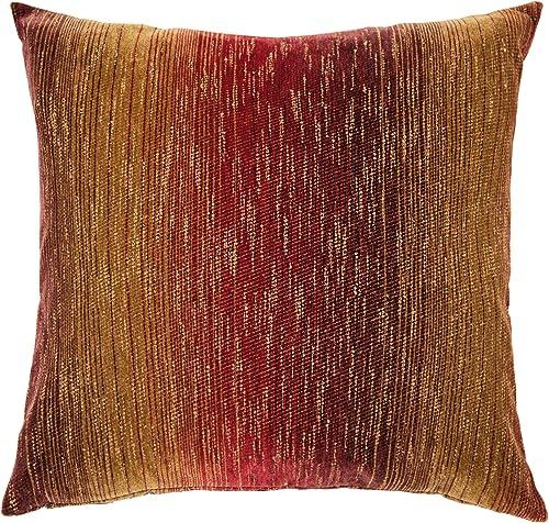 Michael Amini Stella Pillow, 22-Inch by 22-Inch, Fire
