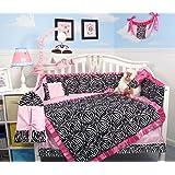 SoHo Pink with Black & White Zebra Chenille Crib Nursery Bedding 10 pcs Set