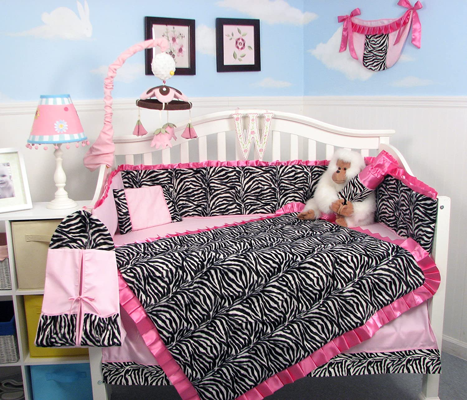 Amazon SoHo Pink With Black White Zebra Chenille Crib Nursery Bedding 10 Pcs Set Toddler Baby