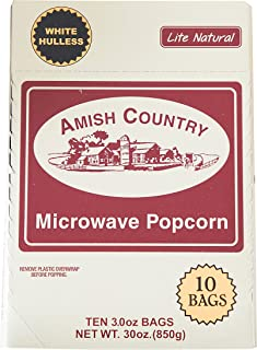 product image for Amish Country Popcorn | Old Fashioned Microwave Popcorn | 10 Bags Lite Natural White Hulless | Old Fashioned, Non GMO, Gluten Free, Microwaveable and Kosher with Recipe Guide (10 Bags)