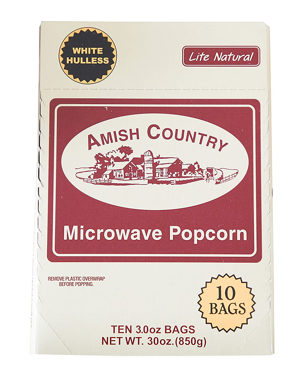 Amish Country Popcorn   Old Fashioned Microwave Popcorn   10 Bags Lite Natural White Hulless   Old Fashioned, Non GMO, Gluten Free, Microwaveable and Kosher with Recipe Guide (10 Bags)