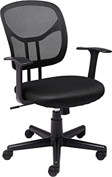 Amazon Basics Mesh Mid Back Adjustable Swivel Office Desk Chair With Armrests Black Furniture Decor