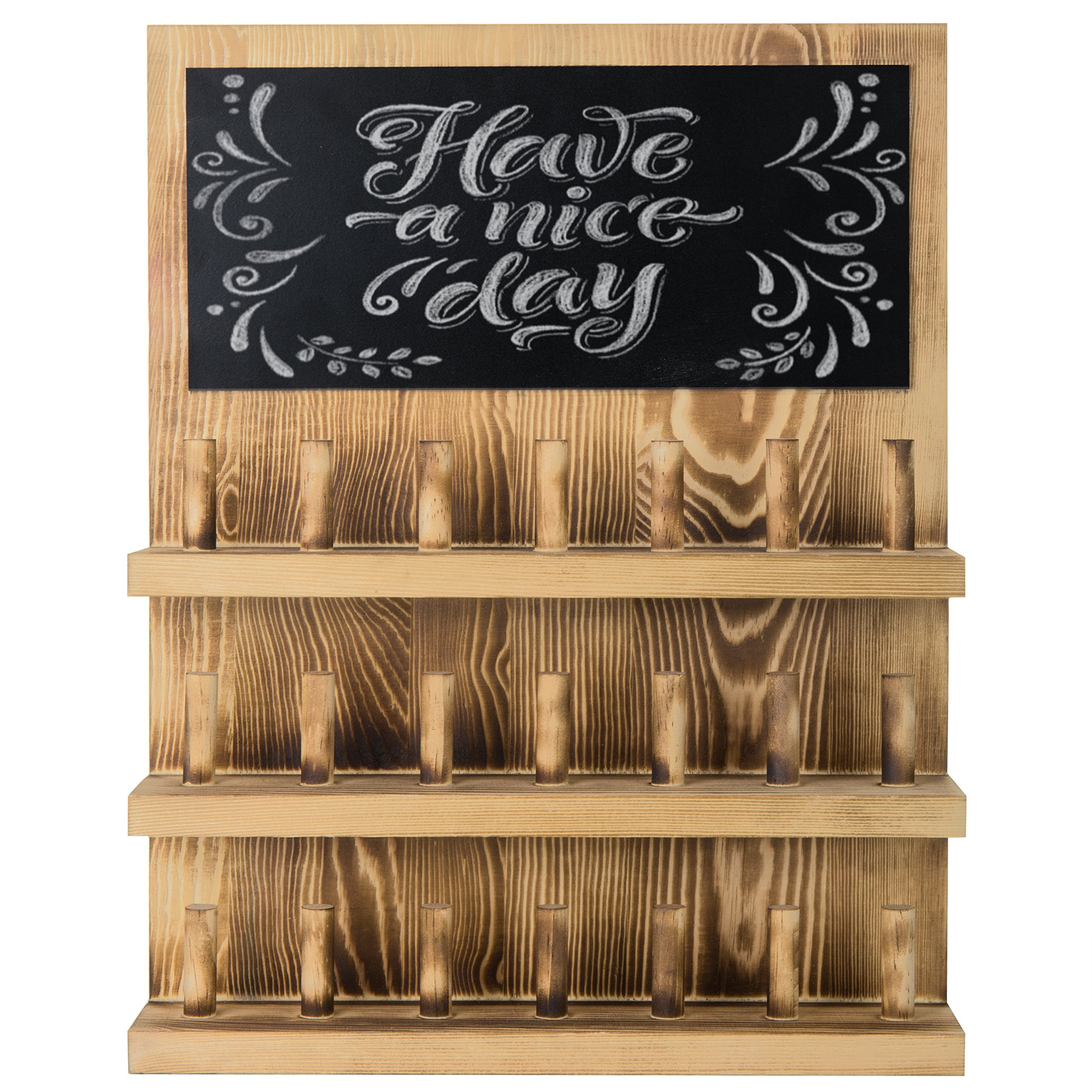 MyGift 3-Tier Wall-Mounted Wood Ring Display Rack with Chalkboard by MyGift (Image #2)