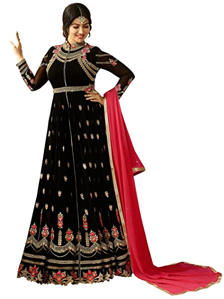 3a7af431b94 Ethnic Yard Women s Faux Georgette Embroidred and Hand Work Anarkali  Gown(Free Size Black)