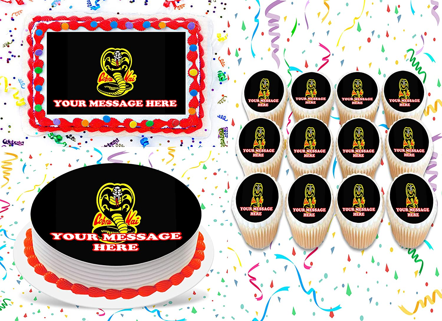 FREE SHIPPING! PRE CUT WAFER PAPER COBRA KAI Edible cookie//cupcake toppers
