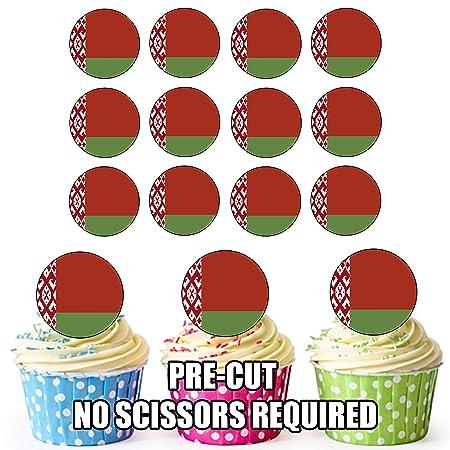 Bandera de Bielorrusia - 24 comestible cupcake toppers ...