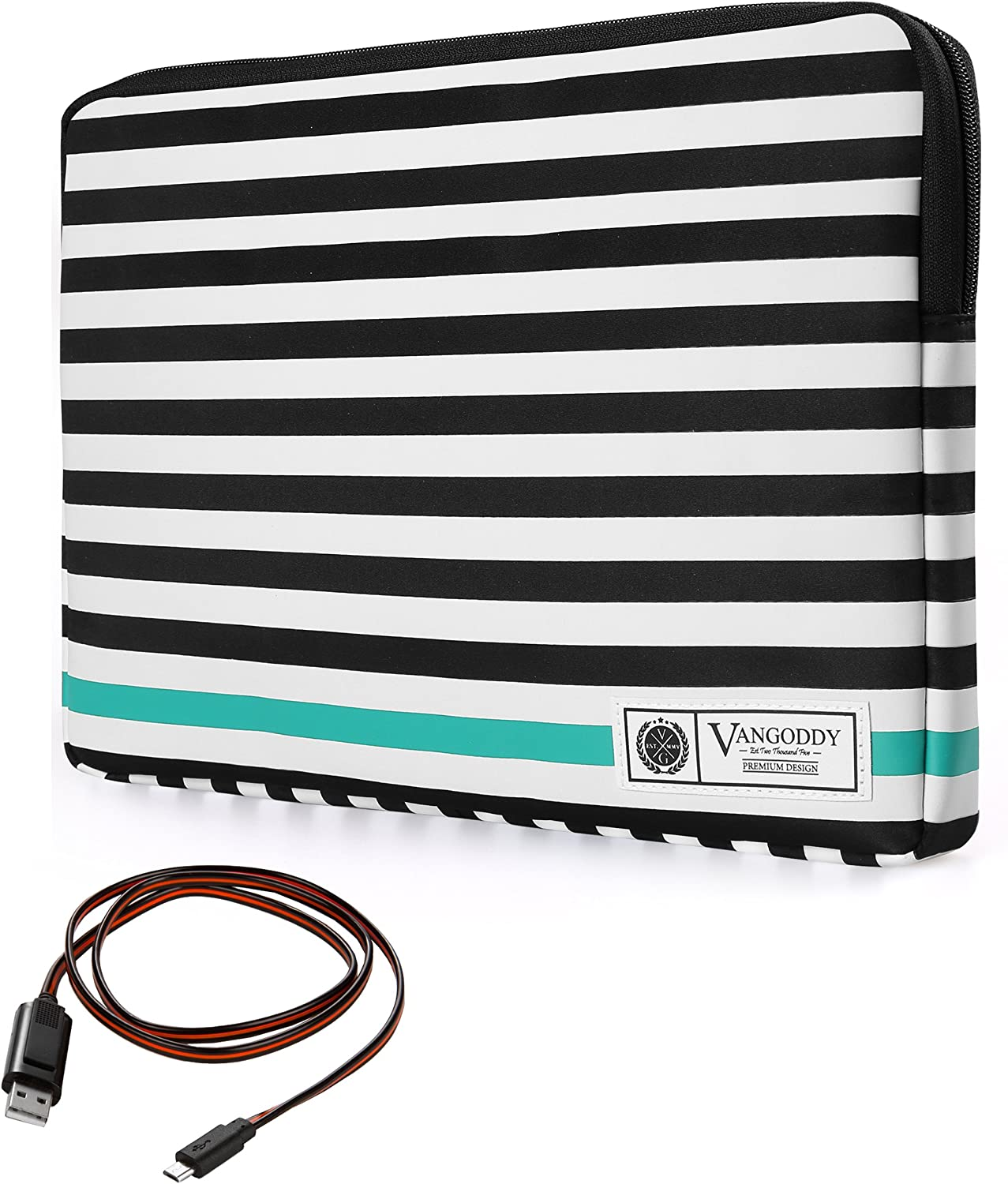 Vangoddy Luxe B Series 15.6 Inch Black White Stripe Padded Carrying Sleeve for Acer Chromebook 15, Aspire 2016, V15, V Nitro, E, V3 15.6 inch Laptop with Sync and Charge Cable