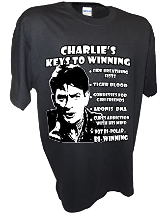 737d5b037 Amazon.com: Men's Charlie Sheen Winning Two and a Half Funny Interview By  Achtung T Shirt LLC: Clothing