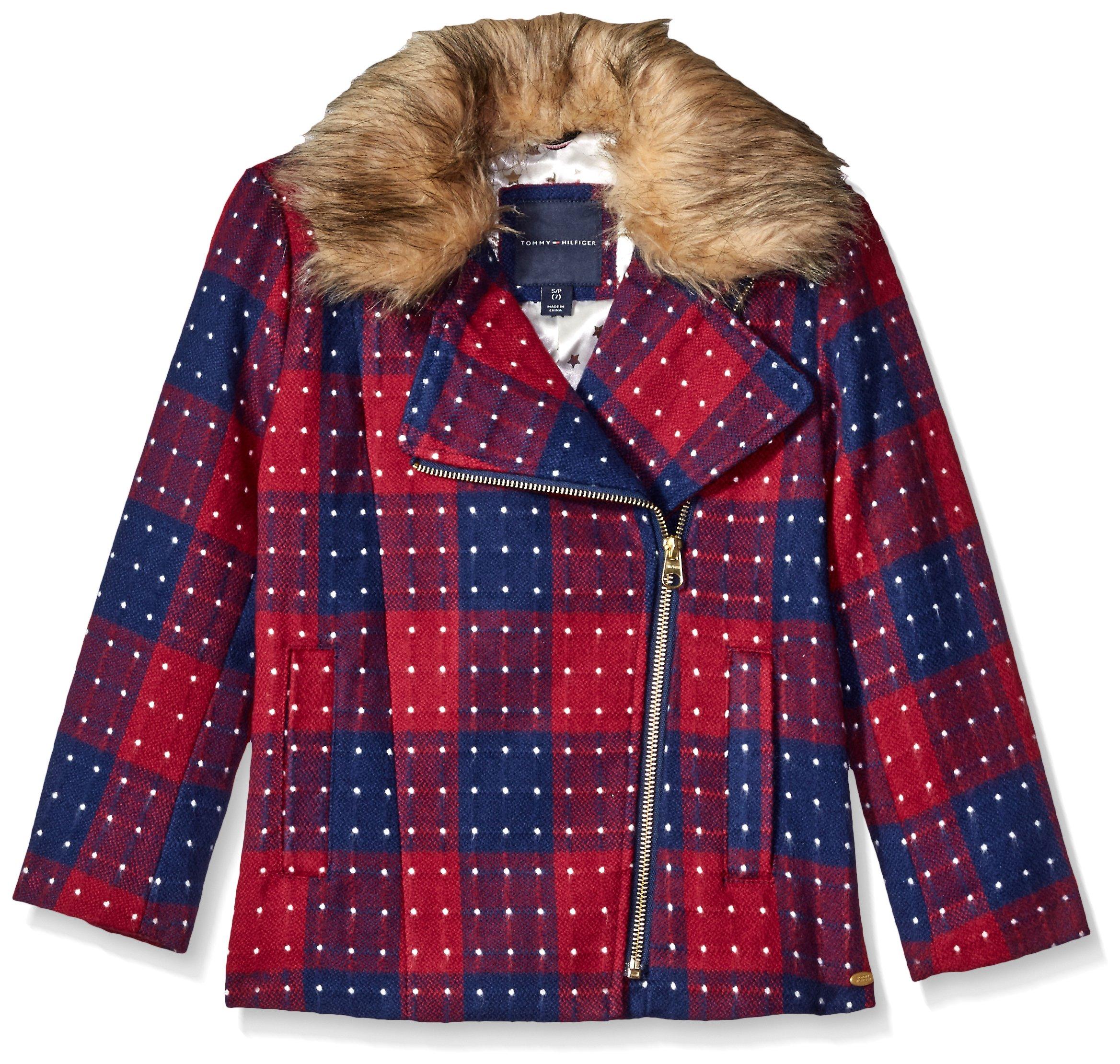 Tommy Hilfiger Big Girls' Short Wool Car Coat, Red Berry, Medium/8/10