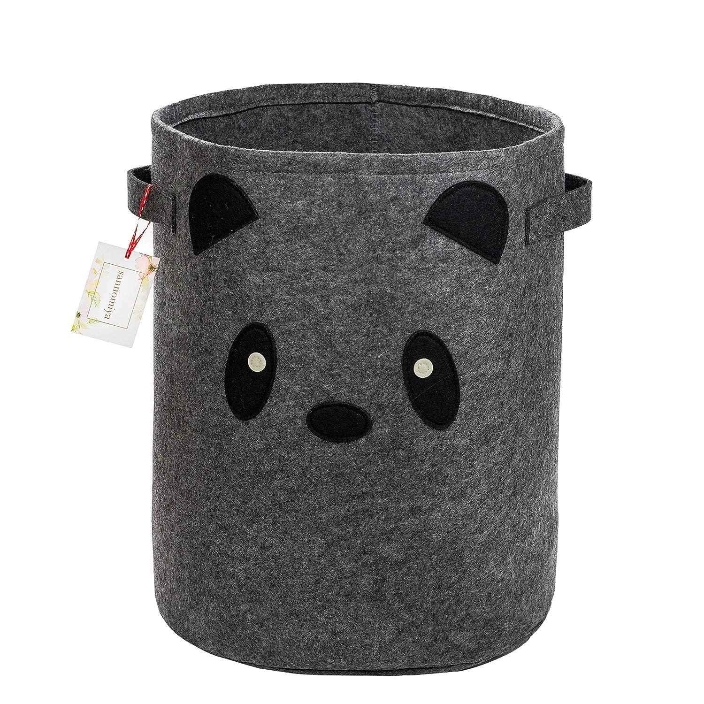 Felt Fabric Small Panda Baby Hamper - Baby Nursery Decor - Kids Toy Storage Organizer - Toy Buckets for Kids Storage - Kids Room Decor - Baby Clothes Storage - Basket for Toys - Boys Hamper