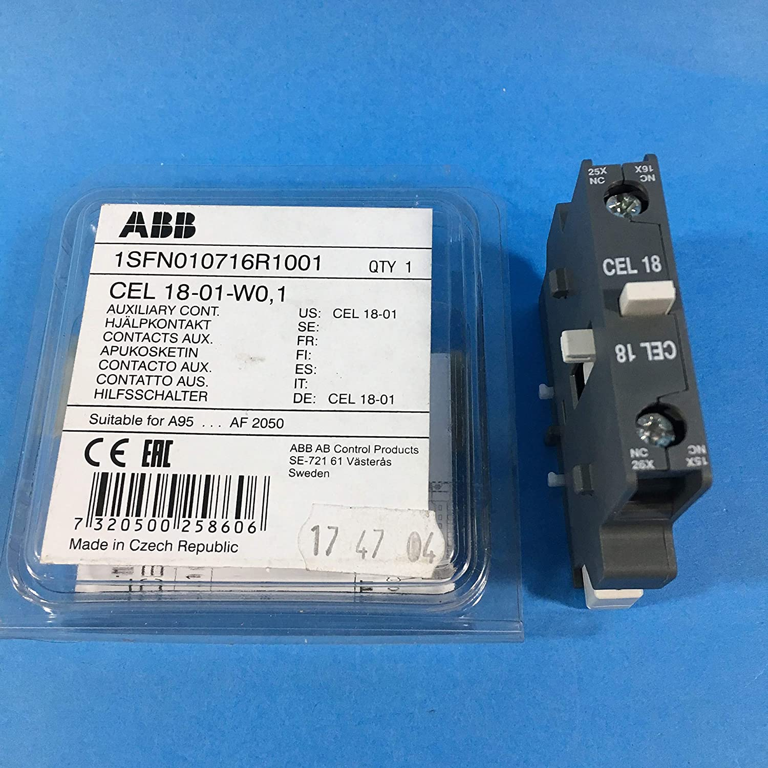 NEW ABB CEL 18-10-W0,1 Auxiliary Contact Block in Original Package