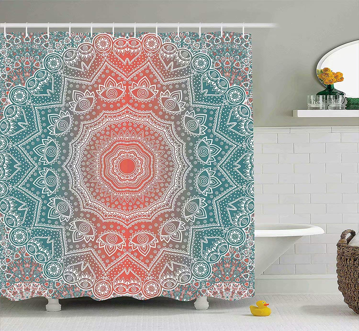 KANATSIU Tribal Mandala Tibetan Healing Motif with Floral Geometric Ombre Art Shower Curtain,with 12 plactic hooks,100% Made of Polyester,Mildew Resistant & Machine Washable,Width x Height is 72X72