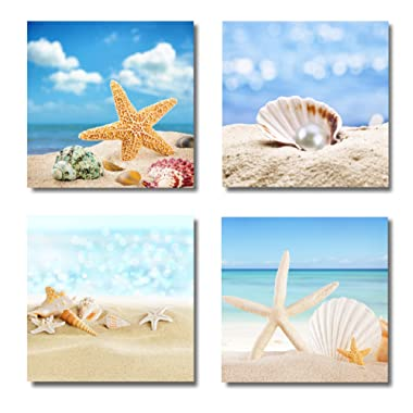 Paimuni Modern Seascape Canvas Prints 4 Panel Seaview Giclee Artwork Starfish Pearl Beach Seashell Wall Art Paintings for Living Room Stretched and Framed Ready to Hang Wall Decor 12 x 12 Inches