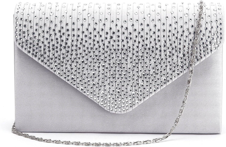 Anladia Pochette Sac de Soiree Soiree Mariage Enveloppe Epaule chaine strass Party Handbag