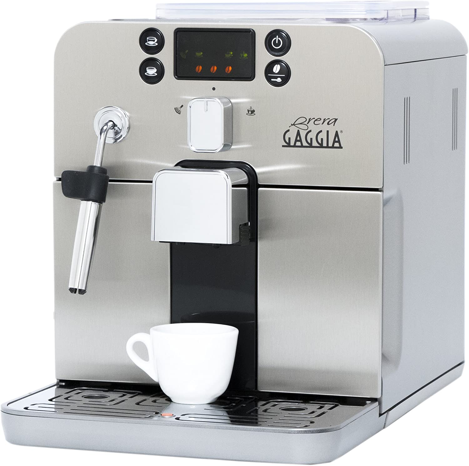 Gaggia Brera Super Automatic Espresso Machine in Silver. Pannarello Wand Frothing for Latte and Cappuccino Drinks. Espresso from Pre-Ground or Whole Bean Coffee.