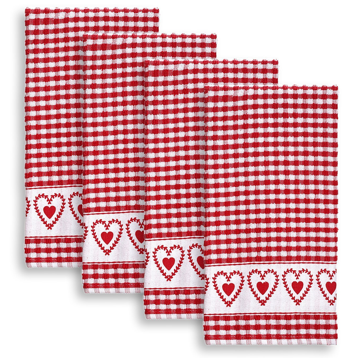 Cackleberry Home Joyful Hearts Terrycloth Kitchen Towels 100% Cotton, Set of 4 (Red)