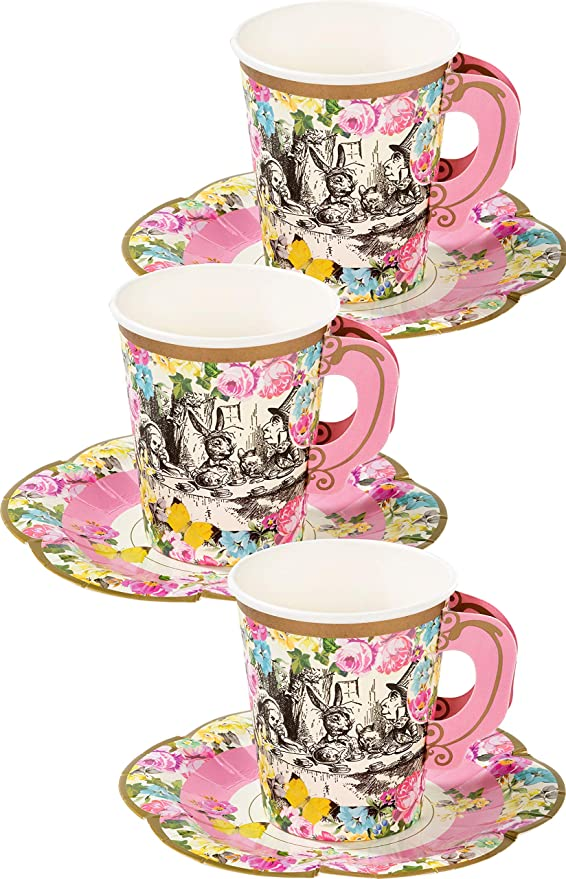 Amazon Com Talking Tables Alice In Wonderland Tea Cups And Saucer Sets Mad Hatter Tea Party Kitchen Dining