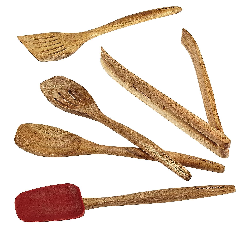 Amazon.com: Rachael Ray Cucina Tools 5-Piece Wooden Tool Set, Red ...