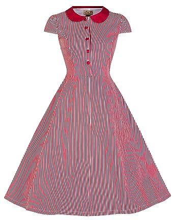 e58c1a031880 Lindy Bop 'Wendy' Vintage 1950's Candy Stripe Peter Pan Collar Shirt Dress  (22