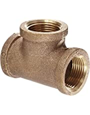 """Anderson Metals 38101 Red Brass Pipe Fitting, Tee, 3/4"""" x 3/4"""" x 3/4"""" Female Pipe"""