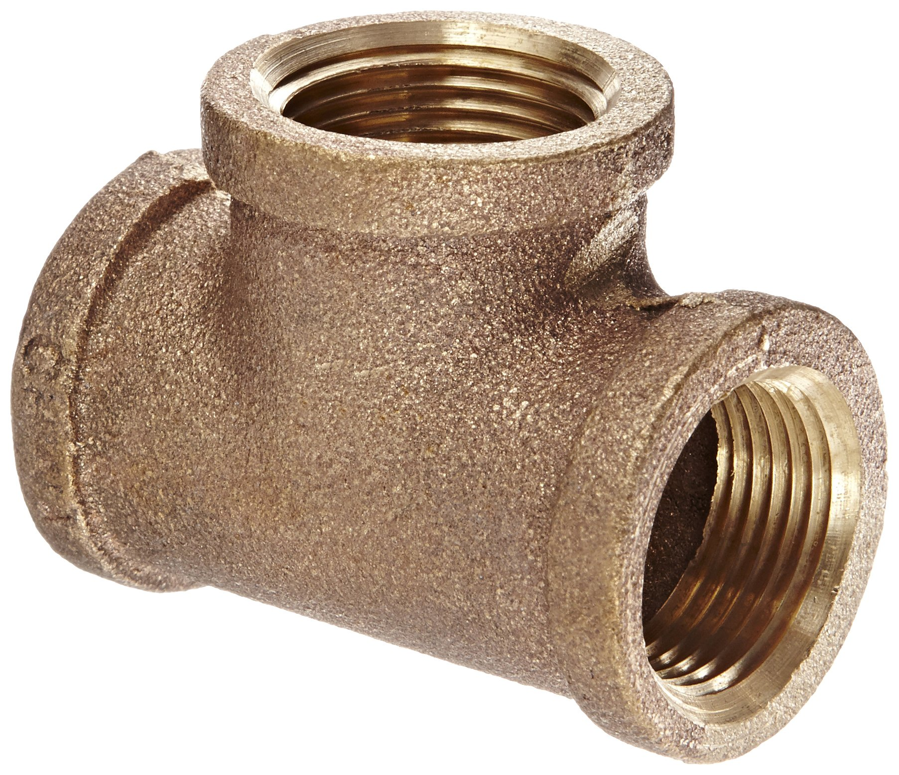 Anderson Metals 38101 Red Brass Pipe Fitting, Tee, 3/4'' x 3/4'' x 3/4'' Female Pipe
