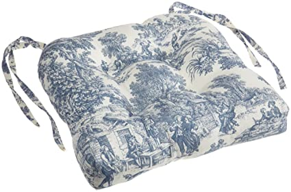 Superbe Victoria Park Toile Cushioned Chair Pad, Blue
