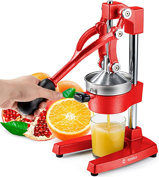 Eurolux Cast Iron Citrus Juicer | Commercial Grade Manual Hand Press | Countertop Squeezer for Fresh Fruit Juice (Bonus Stainless Steel Cup)