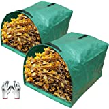 Gardzen 2-Pack Large Yard Dustpan-Type Garden Bag for Collecting Leaves - Reuseable Heavy Duty Gardening Bags, Lawn Pool…