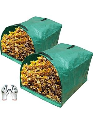 Gardzen 2-Pack Large Yard Dustpan-Type Garden Bag for Collecting Leaves - Reuseable Heavy Duty Gardening Bags, Lawn Pool…