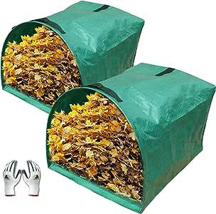 Gardzen 2-Pack Large Yard Dustpan-Type Garden Bag for Collecting Leaves - Reuseable Heavy Duty Gardening Bags, Lawn Pool Garden Leaf Waste Bag - 53 ...
