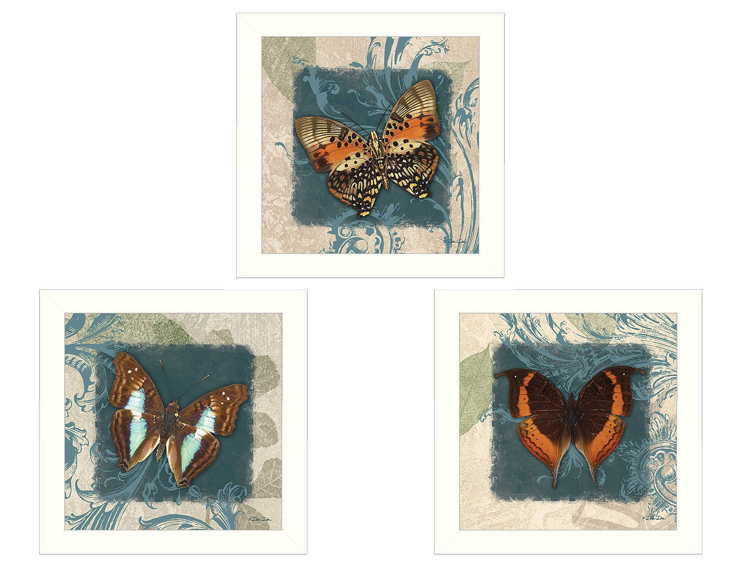 ''Butterflies'' Collection By Dee Dee, Printed Wall Art, Ready To Hang Framed Poster, White Frame