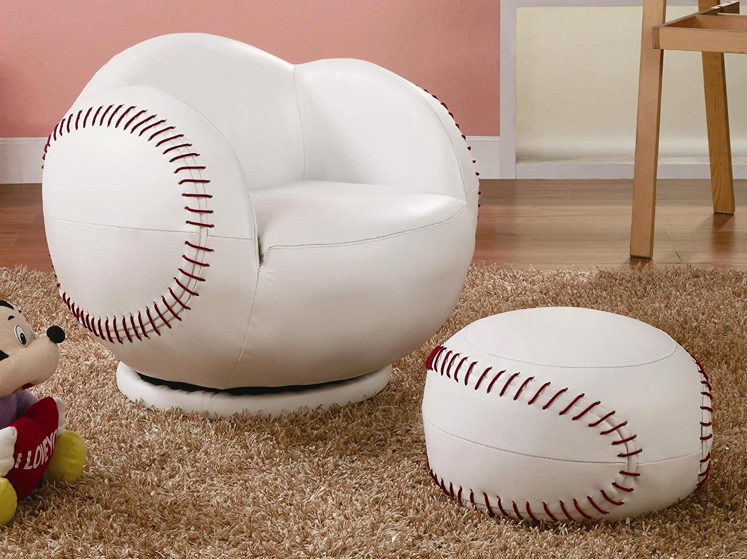 Prime Baseball Small Chair And Ottoman Set Andrewgaddart Wooden Chair Designs For Living Room Andrewgaddartcom