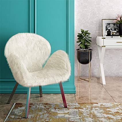Amozon Accent Chairs.Amazon Com Cosmoliving Estelle Modern White Faux Fur Accent Chair