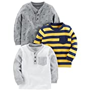 Simple Joys by Carter's Baby Boys' Toddler 3-Pack Long Sleeve Shirt, Yellow Stripe, Gray, White, 2T