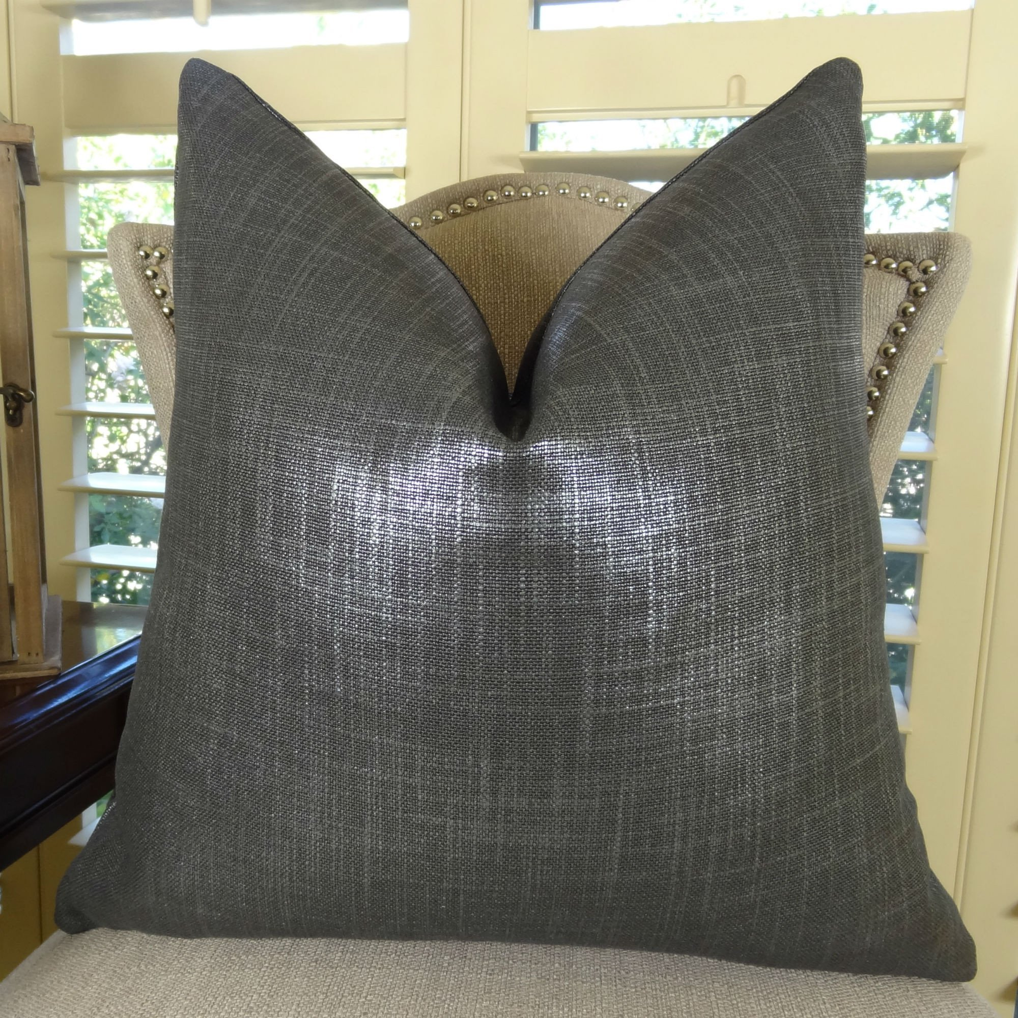 Thomas Collection Metallic Charcoal Gray HandThrow Pillow, Grey Designer Modern Sofa Pillow, COVER ONLY, NO INSERT, Made in America, 11374