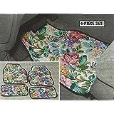4 Piece Floral Tapestry Look Car Floor Mat Set
