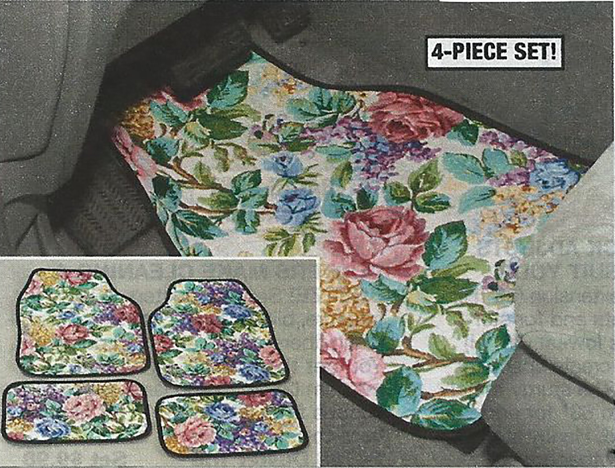 Floral Front & Rear Car Floor Mats - Set Of 4 Flower by Car Mats (Image #1)