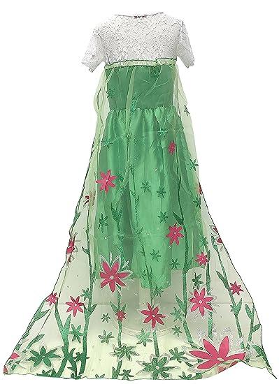 La Señorita Elsa Frozen Fever Vestido de Princesa para niña Capa largo disfraz verde (3-4 años - 110, verde) + Collar Frozen GRATUITO: Amazon.es: Juguetes y ...