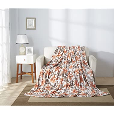 All American Collection Super Soft Printed Throw Blanket (Throw Size, Orange Flower)