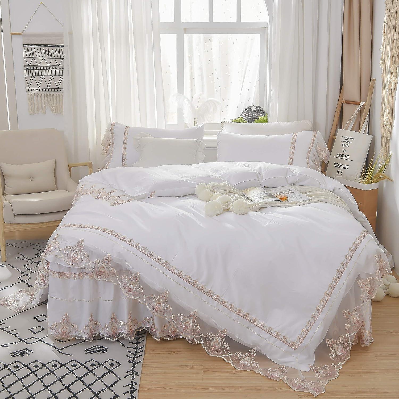 TEALP Gold Lace Bedskirt Romantic Cotton Ruffle Luxury Victorian 4pcs Jacquard Floral Bridal Shabby Bedding Set Princess Pipings Duvet Flouncing Pillow Cover Soft Shams,White,Queen