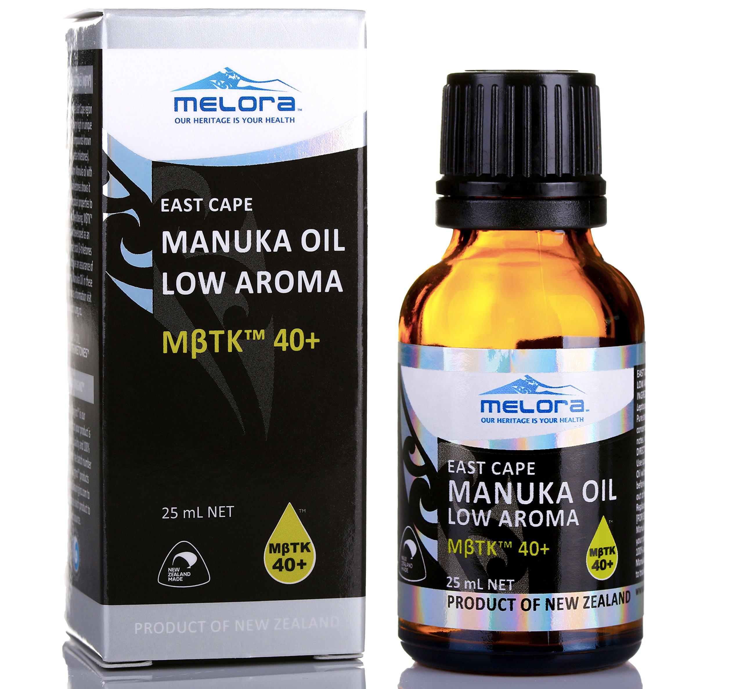 Melora Manuka Oil, MβTK 40+ Low Aroma, 25ml 100% New Zealand East Cape Essential Oil by MELORA