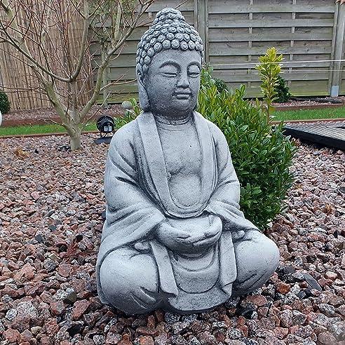 Stein BUDDHA Feng-Shui Steinfigur grau Patiniert massiv Skulptur ...