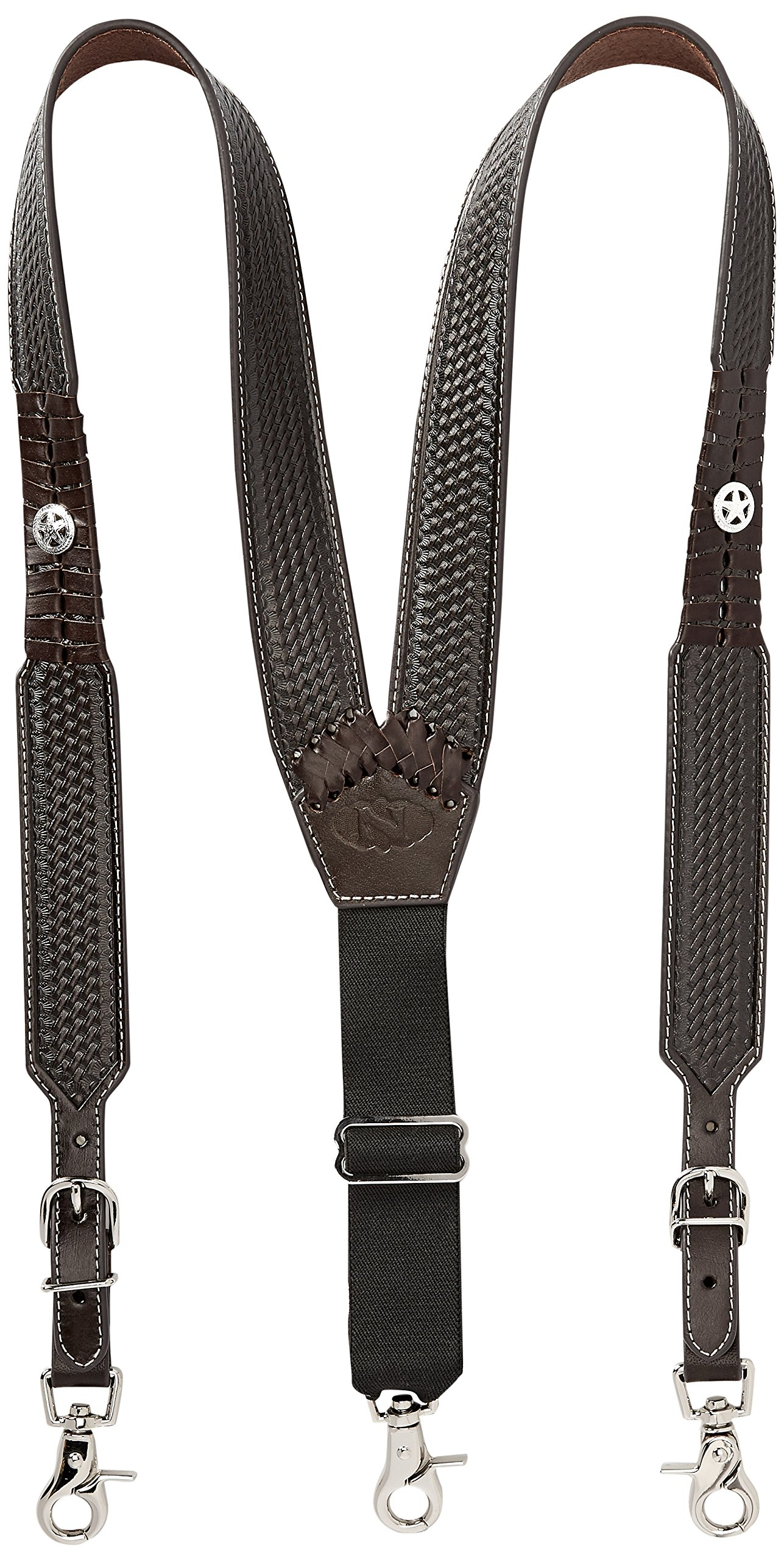 Nocona Belt Co. Men's Star Basket Leather Suspender, brown Medium
