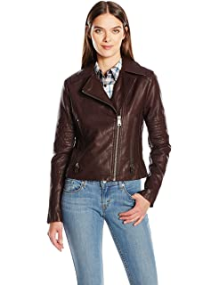 a2f23fc863e Levi s Women s Faux Leather Lay Down Collar Motorcycle Jacket with Quilted  Arms