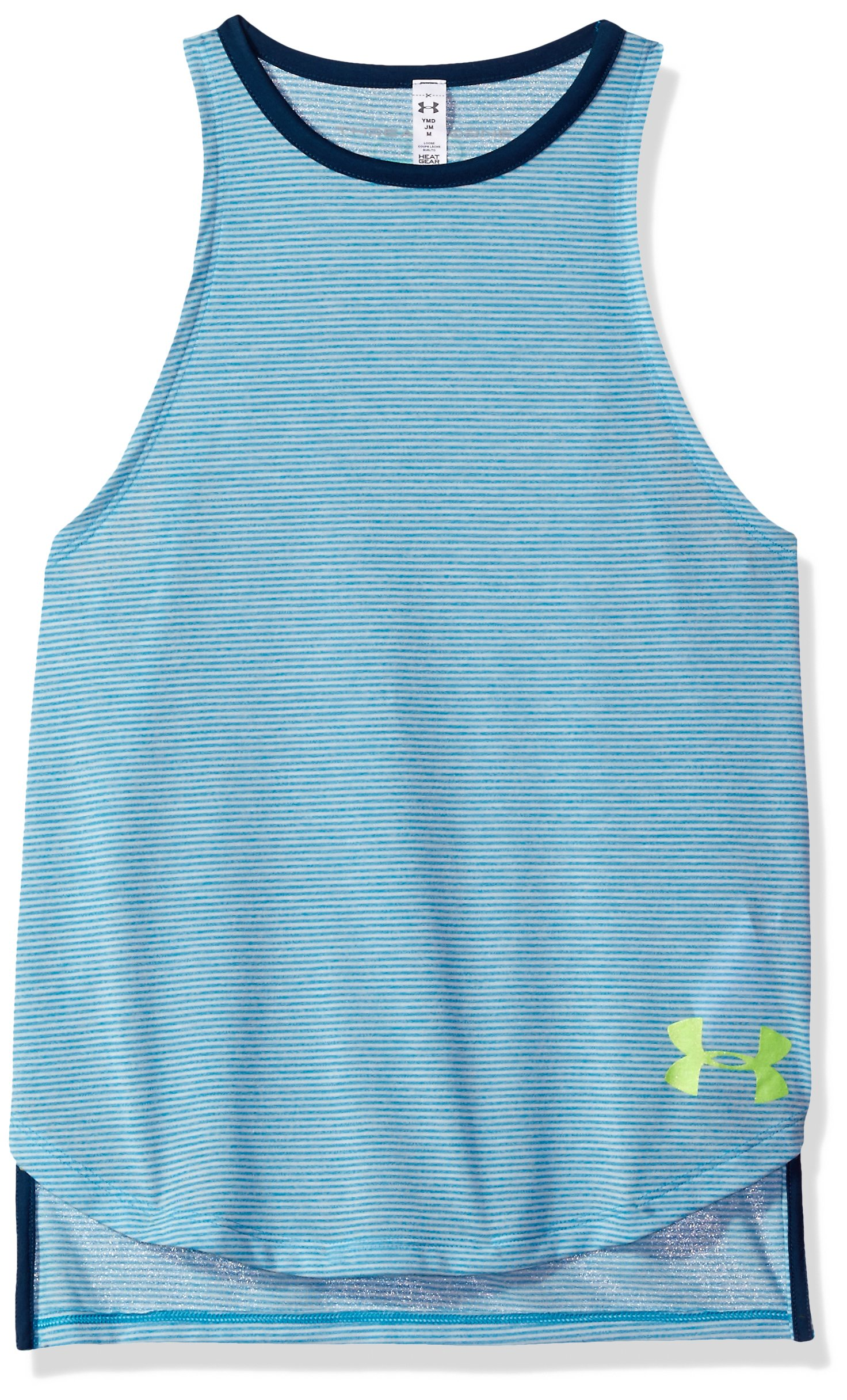 Under Armour Girls' Threadborne Play Up Tank,Blue Shift /Quirky Lime, Youth X-Small